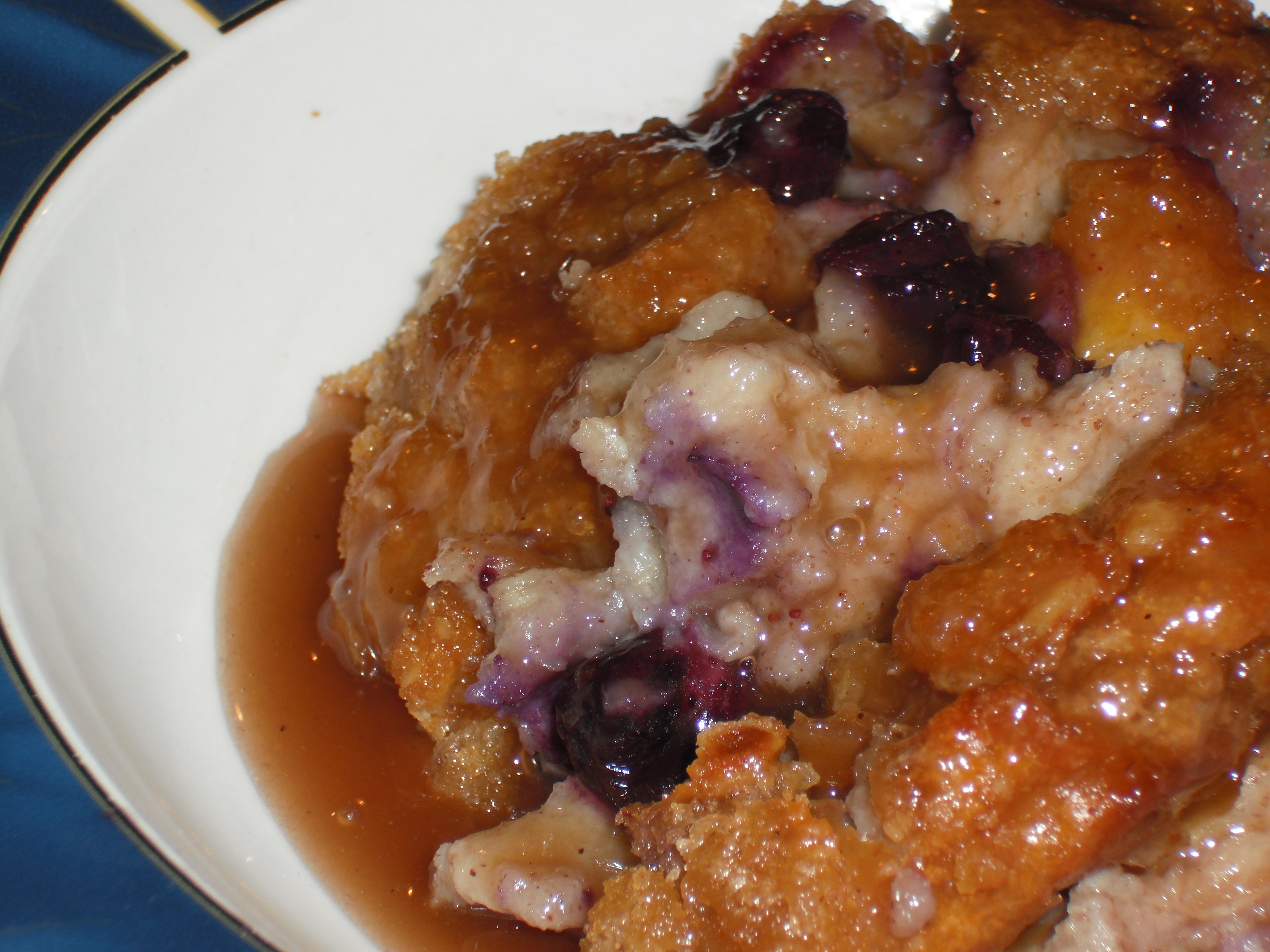 Blueberry & White Chocolate Bread Pudding with Blueberry Caramel Sauce ...